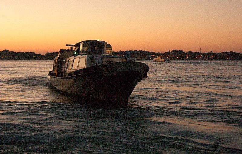 Between Venice and Lido at dawn.