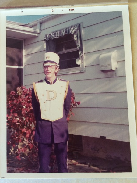 Fall of 1972 - John in his UofD Marching Band uniform.