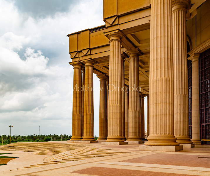 Basilica of Our Lady of Lady of Peace, Basilique Notre Dame de la Paix Yamoussoukro Ivory Coast Cote d'Ivoire. West end of the basilica showing the many pillars and columns and steps.ica.,