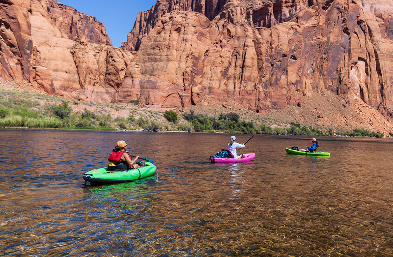 3 Female Kayakers Heading Down Colorado River in AZ