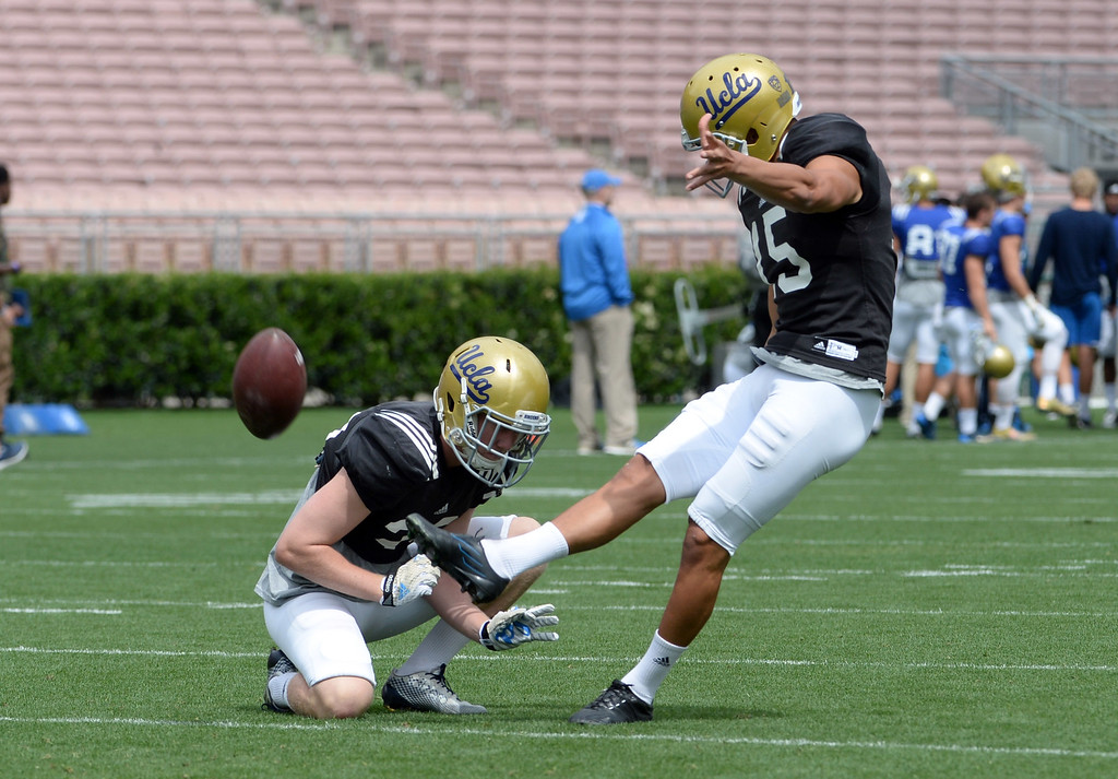 . UCLA Bruins kicker Kaimi Fairbairn (15) during a NCAA college spring football game at the Rose Bowl in Pasadena, Calif., Saturday, April 25, 2015.