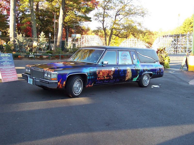 The Spooky World hearse.