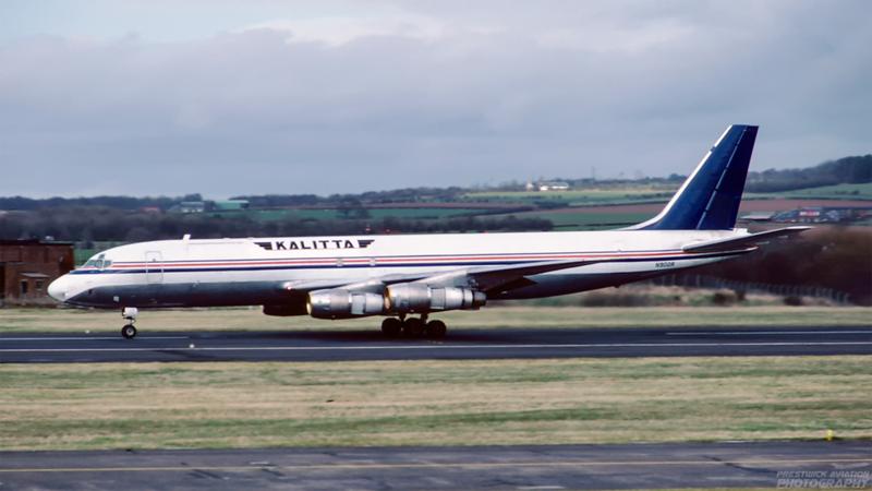 N902R. Douglas DC-8-55F. Kalitta. Prestwick. May 1988.