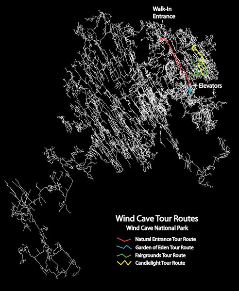 Wind Cave National Park (Tour Routes Map)