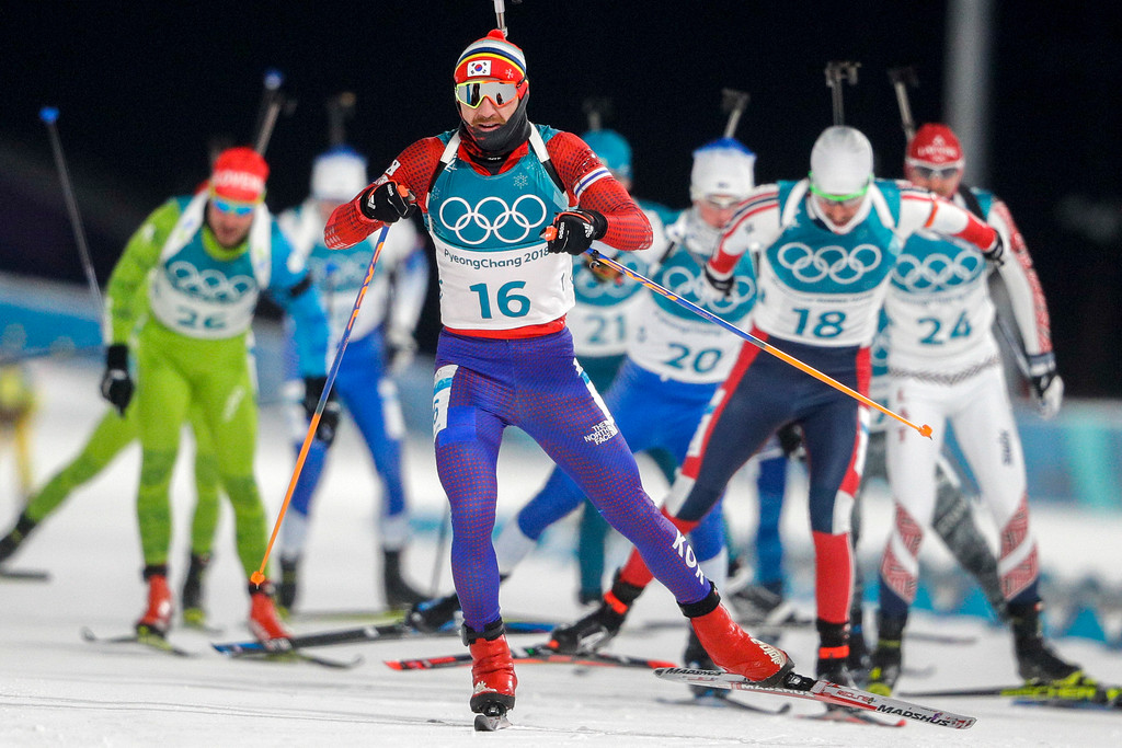 . Timofei Lapshin, of South Korea, skis during the men\'s 12.5-kilometer biathlon pursuit at the 2018 Winter Olympics in Pyeongchang, South Korea, Monday, Feb. 12, 2018. (AP Photo/Gregorio Borgia)