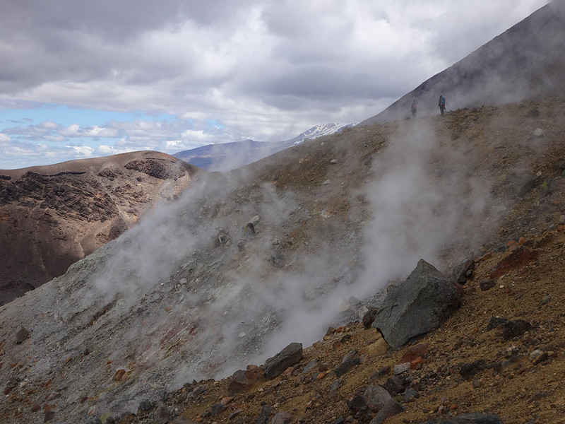 The trail leads through sulphurous gasses issuing from the vents of these not-so-dormant volcanoes