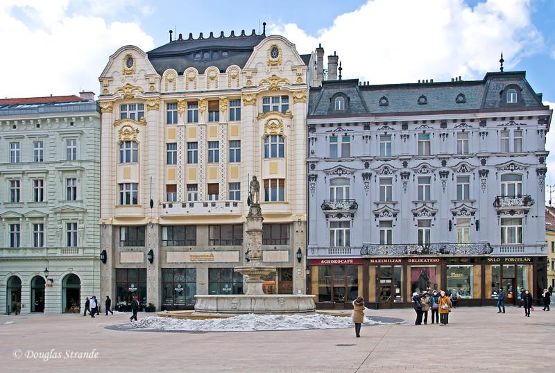 Pastel buildings on Old Town Square in Bratislava
