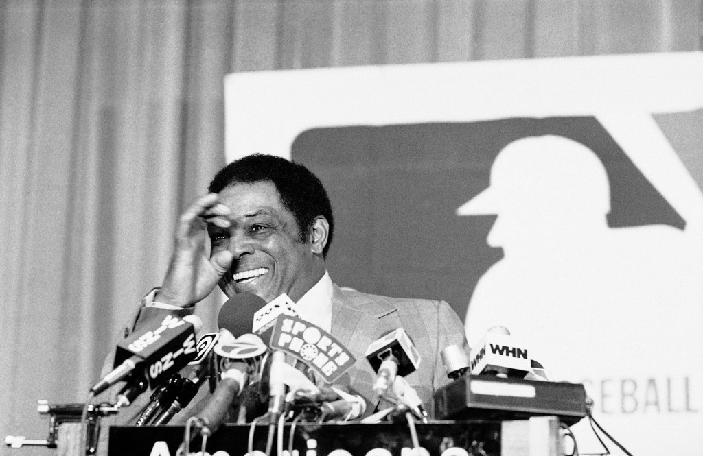 . Former star center fielder with the Giants in New York and San Francisco, Willie Mays, gestures before microphones in New York on Tuesday, Jan. 23, 1979, after being elected to baseball�s Hall of Fame.    Mays received 409 of a possible 132 votes by 10-year members of the Baseball Writers Association of American, who participate in the annual balloting. (AP Photo/ Marty Lederhandler)