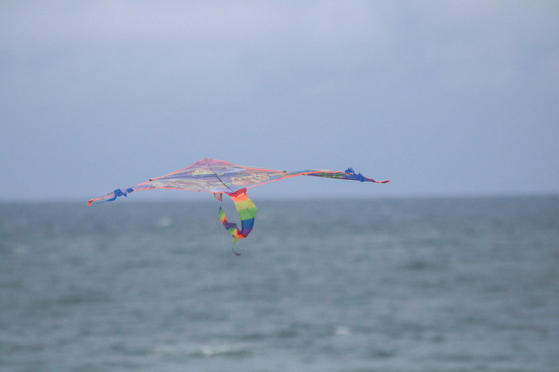 kite in the sky with the ocean background