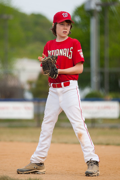 Toby at 1st base in the bottom of the 4th inning. The Nationals started out their season with a 4-1 win over the Pirates. 2012 Arlington Little League Baseball, Majors Division. Nationals vs Pirates (14 Apr 2012) (Image taken by Patrick R. Kane on 14 Apr 2012 with Canon EOS-1D Mark III at ISO 200, f2.8, 1/1600 sec and 180mm)