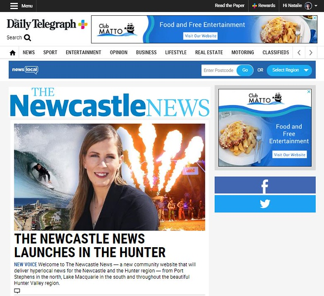 Newcastle News page 8/19/19 (photo credit: NewsCorp Australia)