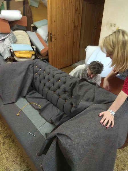 antique sofa tufting work