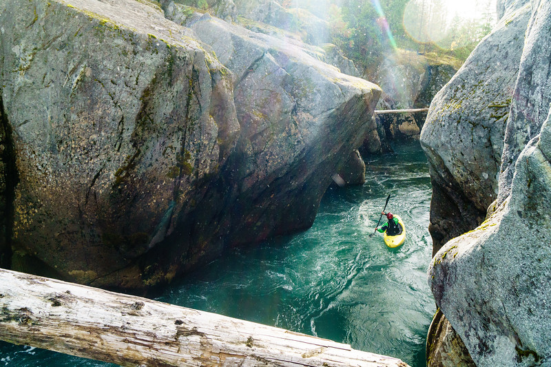 Ben Mckenzie floats through a scenic gorge on the Cheakamus River near Whistler, BC.
