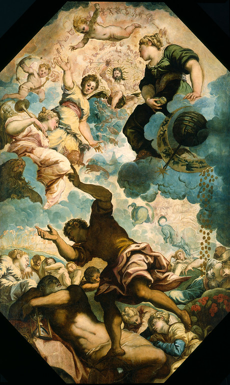 . This undated image provided by the Detroit Institute of Arts shows Tintoretto�s �The Dreams of Men,� a mid-16th century oil on canvas installed on a ceiling at the museum in Detroit. The ceiling was designed specifically for the piece, and the Italian government made it a condition of sale that the painting could never leave the building. The museum�s holdings were at one point threatened with a sale to help fund Detroit�s pension obligations, but finalization of the city�s bankruptcy last week included a deal that protects the artwork. (AP Photo/Detroit Institute of Arts