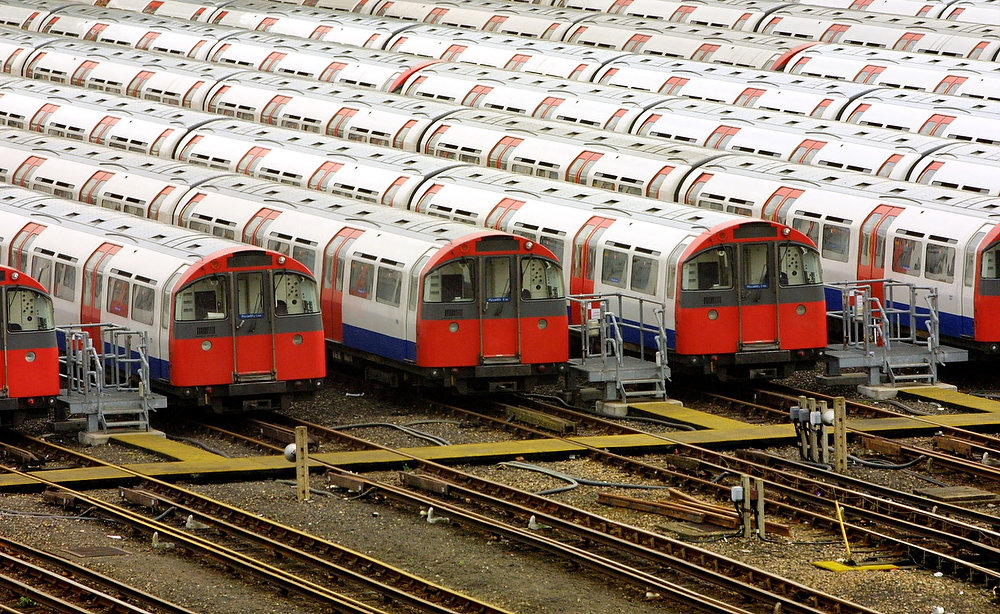 . In this file picture taken on March 29, 2001 Piccadilly Line underground trains stand parked outside Northfields Depot in west London. The London Underground train system, affectionately known as the Tube, celebrates its 150th anniversary on January 9, 2013 bursting at the seams with four million passengers a day but undergoing modernization works to bring it into the 21st century.  ADRIAN DENNIS/AFP/Getty Images