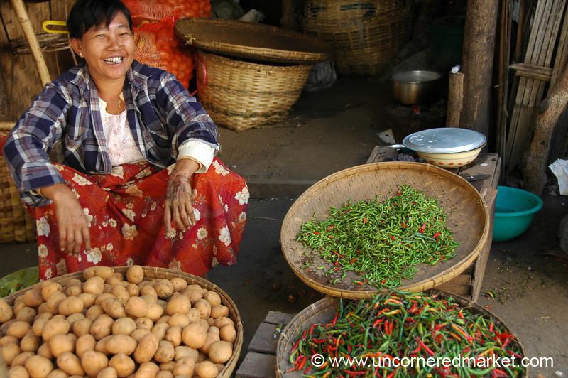Chilies and Potatoes Bagan Market - Burma