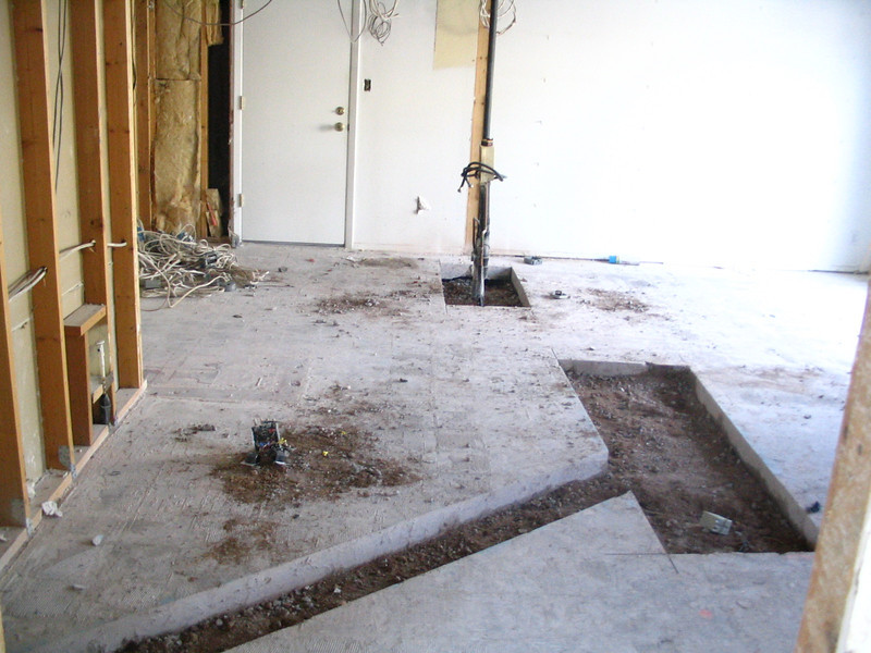 Concrete cuts in the kitchen.