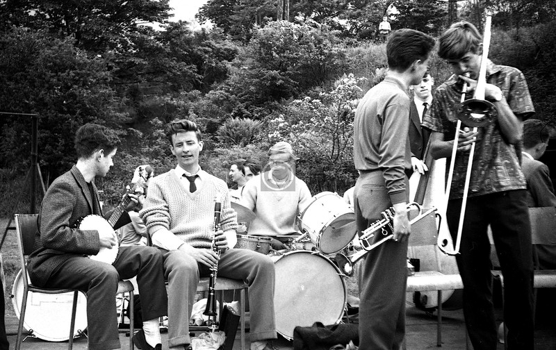 In the summer of, probably, 1964 my classmate Hamish Whyte, who was (in this shot anyway) drummer in a local jazz band, suggested I go along to the Clarkston Fair in Overlee Park, where the band was playing, and take some shots.