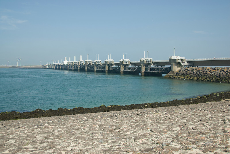 Oosterscheldekering or Eastern Scheldt storm surge barrier in Netherlands