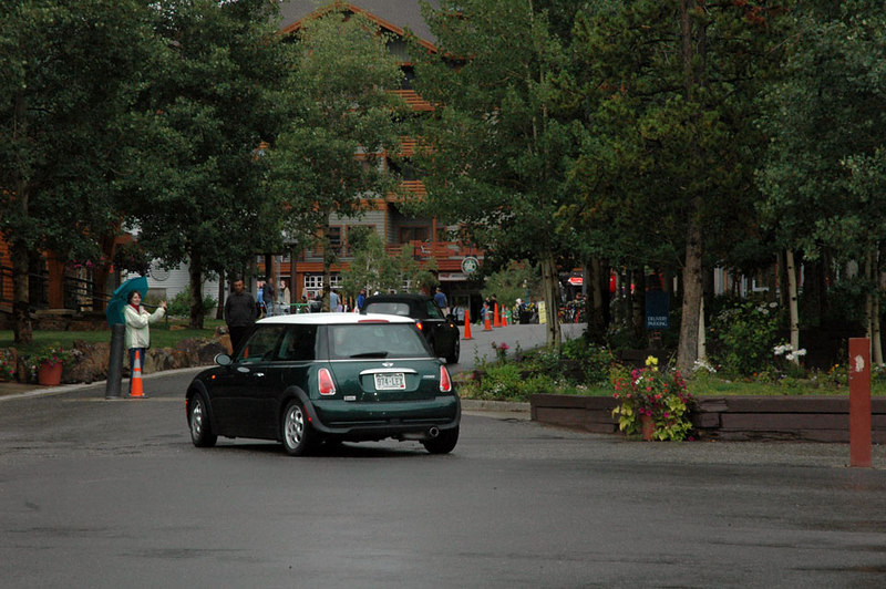 Lining up to enter Burning Stones Plaza in Copper Mountain Resort. Special permission was granted to all MITM attendees to park in the plaza.