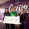 Colleen McAleer and Brenda Fearon from Curves Newry present a cheque to Karen Murdock from Macmillan Cancer Support for £1065 money raised through a Coffee Day, Sponsored Walk and Raffle. R1548019