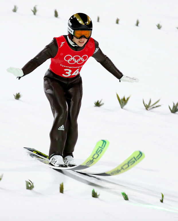 . Katharina Althaus, of Germany, lands during training for the women\'s normal hill individual ski jumping competition at the 2018 Winter Olympics in Pyeongchang, South Korea, Sunday, Feb. 11, 2018. (AP Photo/Matthias Schrader)