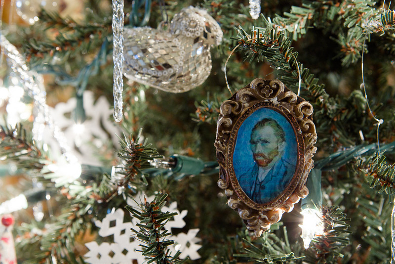 . One of the ornaments on a tree at the decorated Governor\'s mansion makes sly reference to the Vincent Van Gogh exhibition currently running at the Denver Art Museum. Photo by Mark Broste