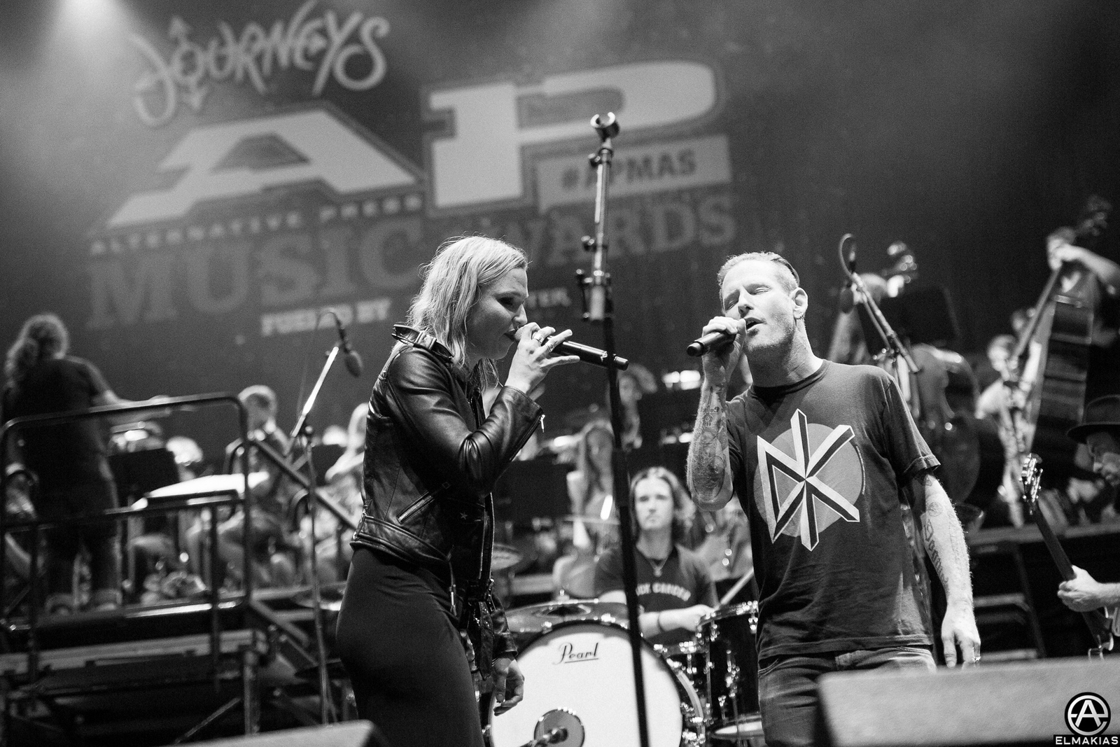 Halestorm and Corey Taylor of Slipknot at rehearsals for the Alternative Press Music Awards 2015 by Adam Elmakias