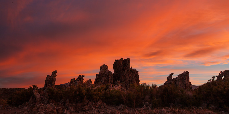 Tufa towers at sunset. Mono Lake State Natural Reserve