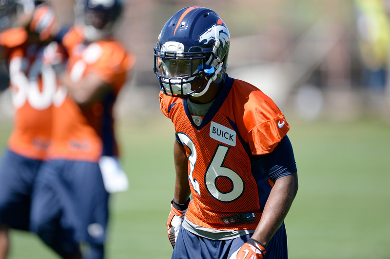 . Denver Broncos Rahim Moore (26) in drills during practice May 28, 2014 at Dove Valley. (Photo by John Leyba/The Denver Post)