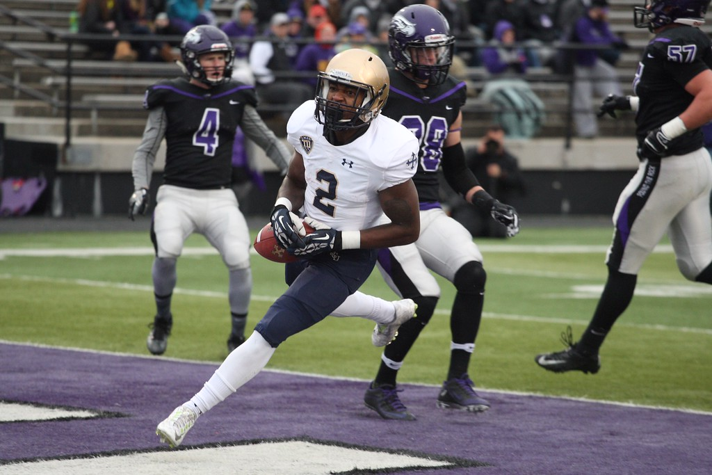 . John Reid - The News-Herald Ro Golphin (Gilmour) scores John Carroll\'s first touchdown in the Blue Streaks\' win over Wisconsin-Whitewater on Dec. 3.