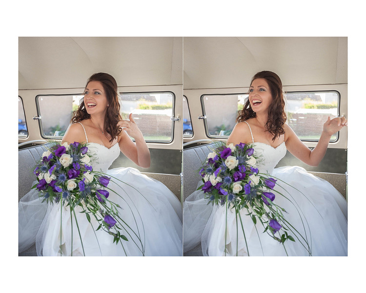 Wedding Photography of Laura & Barry, Callander House in Callander Park, Falkirk, Photograph is of the Bride sitting & Laughing in a vintage Volkswagan campervan