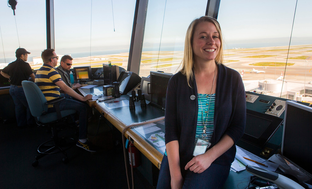 . Lisa Stephenson, 35, an air traffic controller at San Francisco International Airport on Wednesday, Feb. 27, 2013. Stephenson may be furloughed due to the federal government cutting $85 billion on Friday. (John Green/Staff)