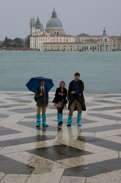 Harry, Katerina, and Teddy on San Giorgio Maggiore with Santa Maria della Salute in the background