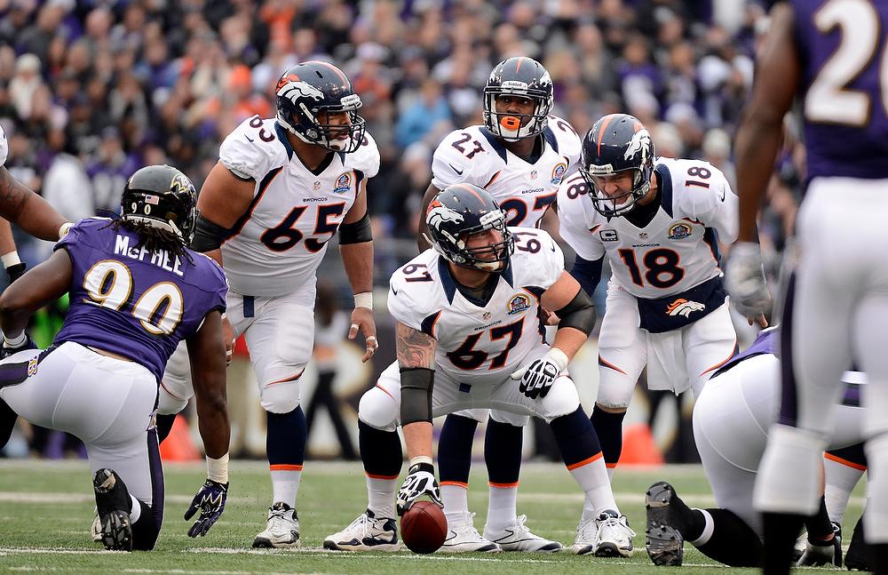 . Denver Broncos quarterback Peyton Manning (18) changes up at the line of scrimmage against the Baltimore Ravens defense Sunday, December 16, 2012 at M&T Bank Stadium. John Leyba, The Denver Post
