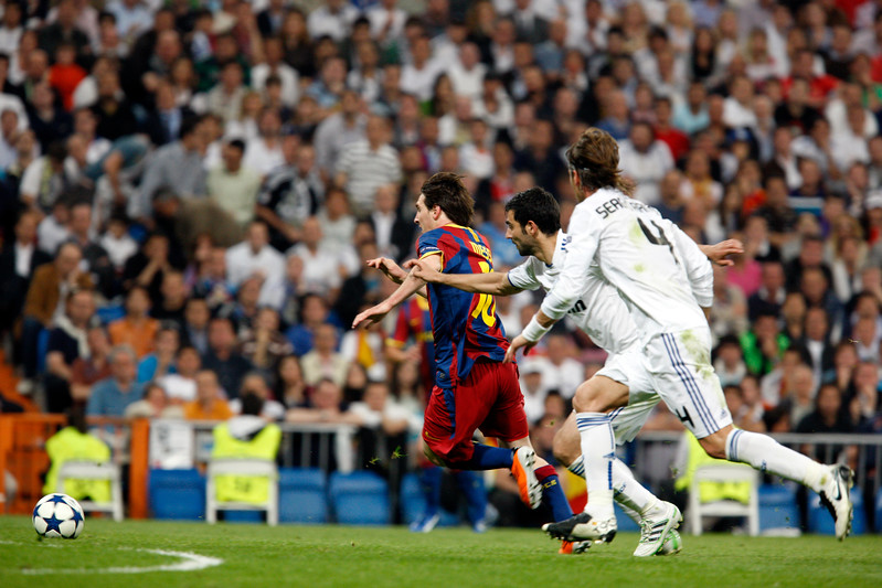 Messi entering the penalty area, UEFA Champions League Semifinals game between Real Madrid and FC Barcelona, Bernabeu Stadiumn, Madrid, Spain