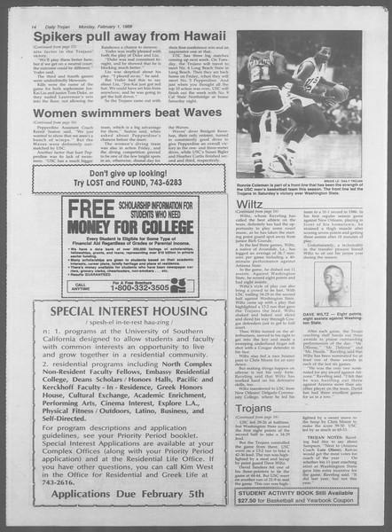 Daily Trojan, Vol. 106, No. 15, February 01, 1988