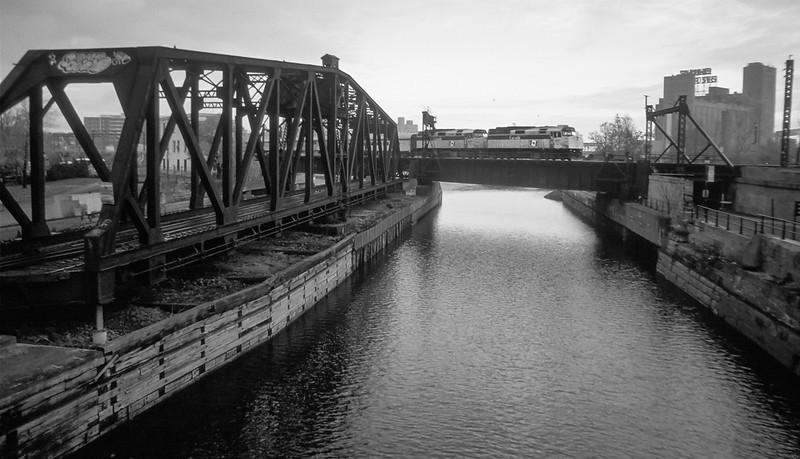 VIA train westbound across the Canal de Lachine.