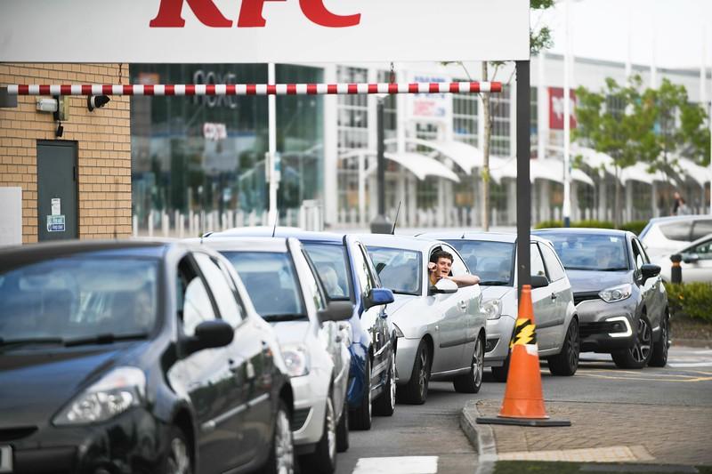 KFC queuing, Swansea, after drive-thru opening.