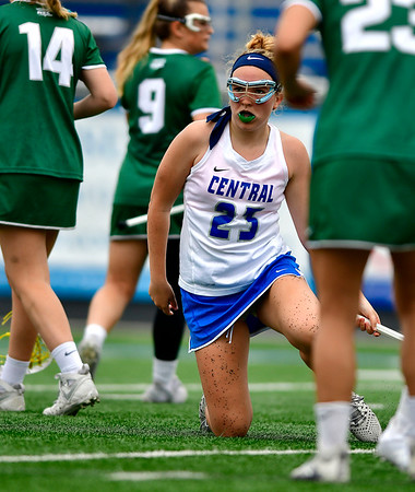4/20/2019 Mike Orazzi | Staff CCSU Women's Lacrosse's Molly Coogan (23) against Wagner in New Britain on Saturday.