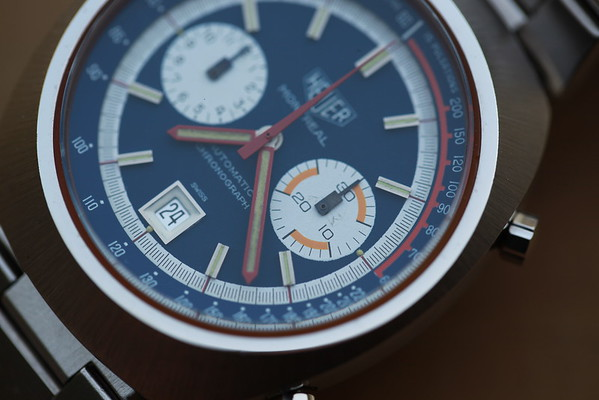 Heuer Montreal 110.503B - Orange Accents w/ Blue Dial
