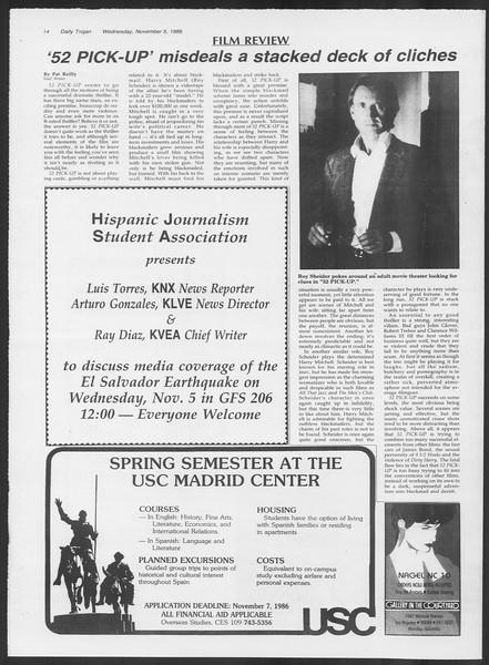Daily Trojan, Vol. 102, No. 46, November 05, 1986