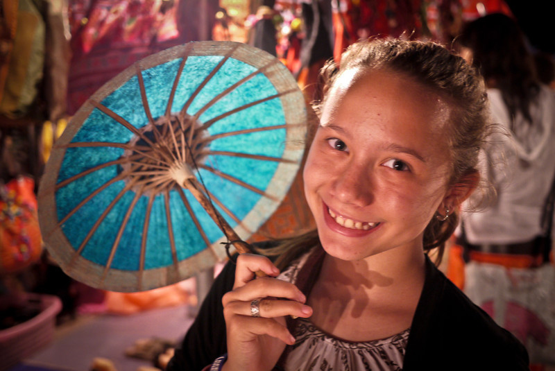 Ana at the nightly crafts market in Luang Prabang, Laos.