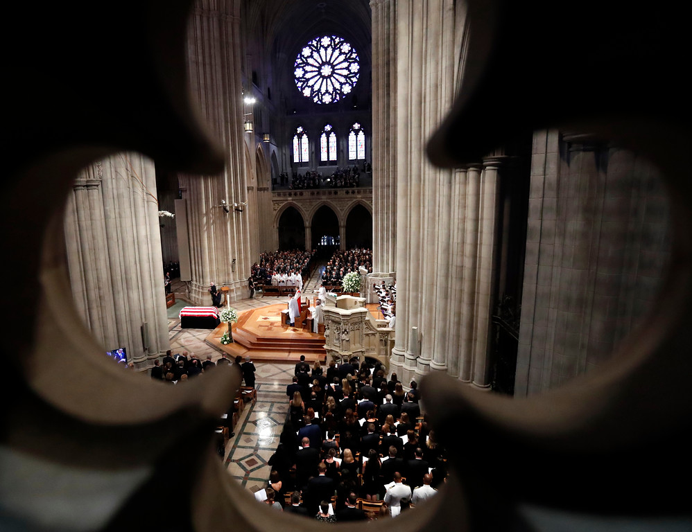 . Dignitaries and invited guests attend a memorial service for Sen. John McCain, R-Ariz., at Washington National Cathedral in Washington, Saturday, Sept. 1, 2018. McCain died Aug. 25, from brain cancer at age 81. (AP Photo/Pablo Martinez Monsivais)
