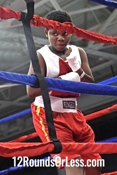 Bout 3 Arshaun Carter, Blue Gloves, Bar None Boxing -vs- Darkwan Earl, Red Gloves, Team Cartel, 95 Lbs, PeeWee