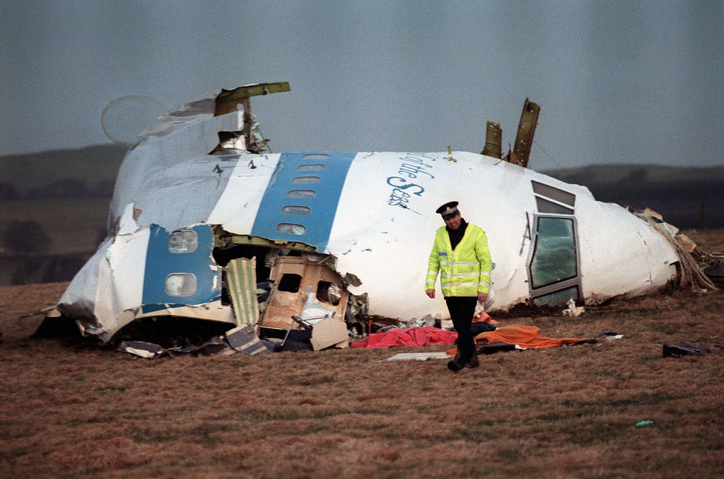 ". A file picture taken in Lockerbie, Scotland, on December 22, 1988, shows the wreckage of Pan Am flight 103 aircraft that exploded killing all 259 people aboard. British Prime Minister David Cameron on Saturday December 21, 2013, expressed Britain\'s ""unconditional admiration\"" for the families of the victims of the Lockerbie bombing on the attack\'s 25th anniversary.  AFP PHOTO / ROY LETKEY//AFP/Getty Images"