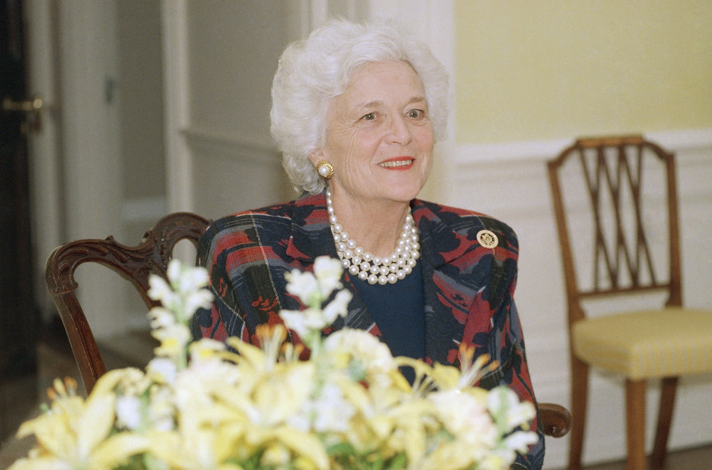 . First lady Barbara Bush, in an interview with the Associated Press at the White House in Washington, Feb. 3, 1989, says she sees her job as helping relieve the enormous pressures of the presidency. (AP Photo/Bob Daugherty)