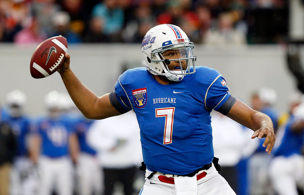 . Tulsa quarterback Cody Green throws a pass against Tulsa in the first quarter of the Liberty Bowl NCAA college football game in Memphis, Tenn., Monday, Dec. 31, 2012. (AP Photo/Rogelio V. Solis)