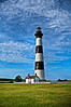 Black and white striped lighthouse located in North Carolina on the east coast of the United States.