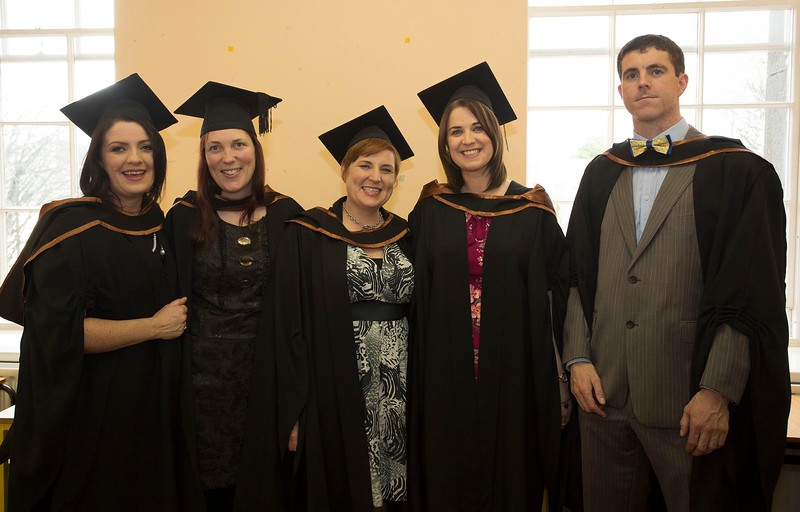 28/10/2015 Image Free to Use. Conferring at Waterford Institute of Technology. l-r; Tanya Frost O'Grady from Tramore, Sarah Bates from Wexford, Brídín Moloney from New Ross, Philomena Furlong from Waterford and Gearoid Kelly from Wexford Postgraduate Diploma in Arts in Teaching in Further Education.Photo; Mary Browne